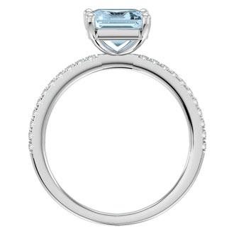 1 1/2 Carat Emerald Shape Aquamarine and Diamond Ring In 14 Karat White Gold