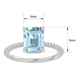1 1/2 Carat Aquamarine and Diamond Ring In 14 Karat White Gold
