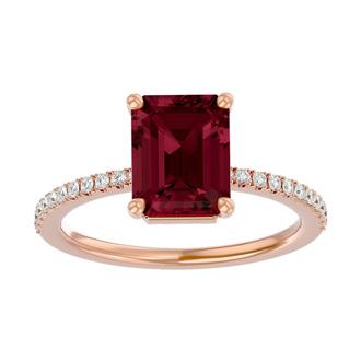 2 Carat Emerald Shape Garnet and Diamond Ring In 14 Karat Rose Gold
