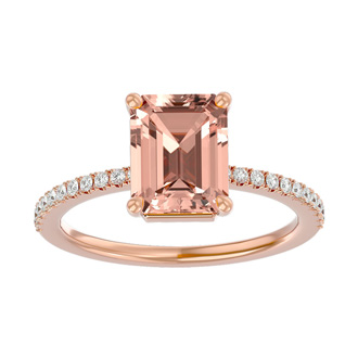 1 1/2 Carat Morganite and Diamond Ring In 14 Karat Rose Gold