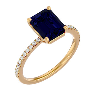 2 1/2 Carat Sapphire and Diamond Ring In 14 Karat Yellow Gold