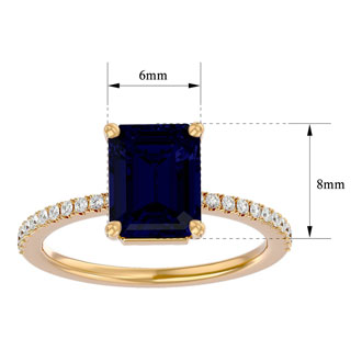 2 1/2 Carat Emerald Shape Sapphire and Diamond Ring In 14 Karat Yellow Gold
