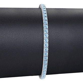 8.5 Inch 4 3/4 Carat Aquamarine Tennis Bracelet In 14K White Gold
