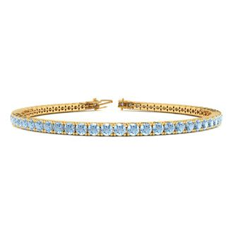 7 Inch 4 Carat Aquamarine Tennis Bracelet In 14k Yellow Gold