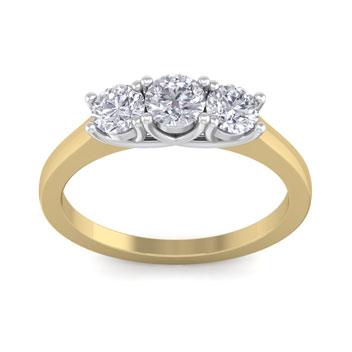1 Carat Three Diamond Ring In 14 Karat Yellow Gold