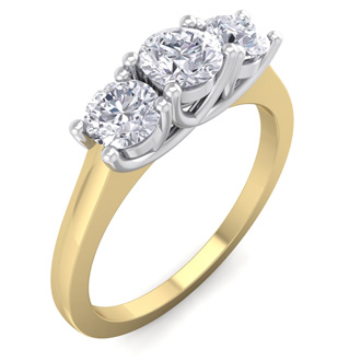 1ct Three Diamond Ring in 14k Two Tone Gold,  G/H Color SI1 Clarity