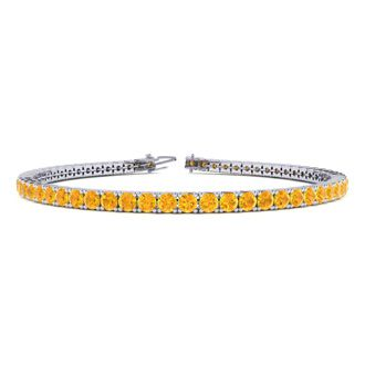 6 Inch 3 1/2 Carat Citrine Tennis Bracelet In 14K White Gold