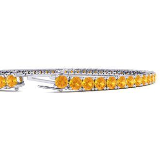 7 Inch 4 Carat Citrine Tennis Bracelet In 14K White Gold