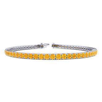 9 Inch 5 Carat Citrine Tennis Bracelet In 14K White Gold