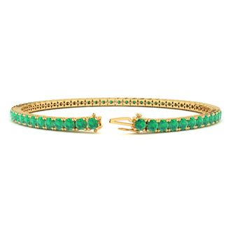 7 Inch 4 1/2 Carat Emerald Tennis Bracelet In 14K Yellow Gold