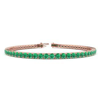 7.5 Inch 5 Carat Emerald Tennis Bracelet In 14K Rose Gold