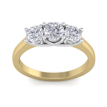 1 1/2ct Trellis Motif Three Diamond Ring in 14k Two Tone Gold