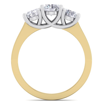 1 1/2ct Three Diamond Ring in 14k 2-Tone Gold. Priced Below Cost!  Natural, Colorless, Earth-Mined Diamonds