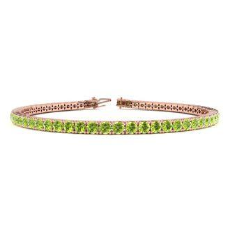 6 Inch 3 1/2 Carat Peridot Tennis Bracelet In 14K Rose Gold