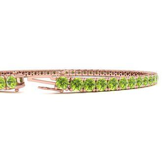 7.5 Inch 4 1/4 Carat Peridot Tennis Bracelet In 14K Rose Gold