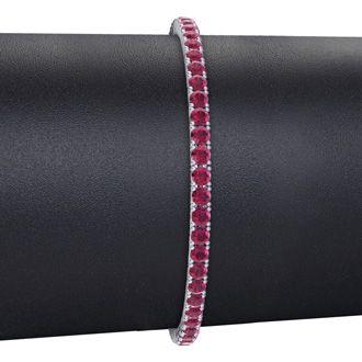 4 3/4 Carat Ruby Tennis Bracelet In 14 Karat White Gold, 6 1/2 Inches