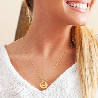 14K Yellow Gold Over Sterling Silver Duet Circle Necklace With Free Custom Engraving, 18 Inches