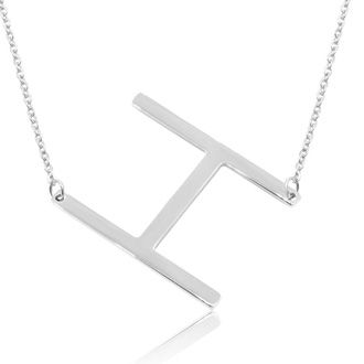 H Initial Sideways Necklace In Silver Overlay, 18 Inches