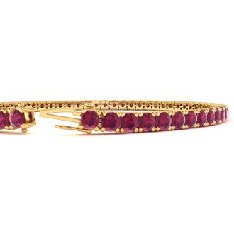 8.5 Inch 6 1/3 Carat Ruby Tennis Bracelet In 14K Yellow Gold