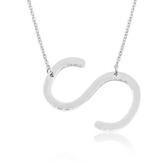 S Initial Sideways Necklace In Silver Overlay, 18 Inches