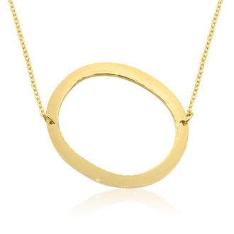 O Initial Sideways Necklace In Gold Overlay, 18 Inches