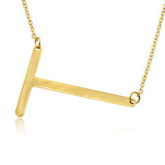 T Initial Sideways Necklace In Gold Overlay, 18 Inches