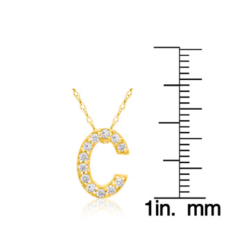C Initial Necklace In 18K Yellow Gold With 12 Diamonds