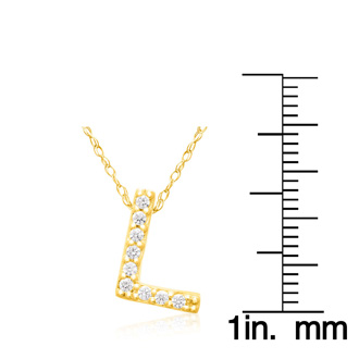 L Initial Necklace In 18K Yellow Gold With 9 Diamonds