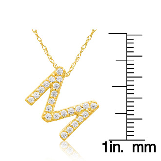 M Initial Necklace In 18K Yellow Gold With 23 Diamonds