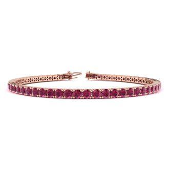 7.5 Inch 5 1/2 Carat Ruby Tennis Bracelet In 14K Rose Gold