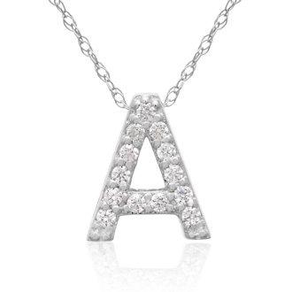 A Initial Necklace In 18K White Gold With 13 Diamonds