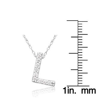 L Initial Necklace In 18K White Gold With 9 Diamonds