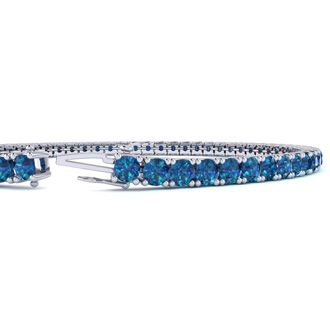 8 Inch 4 1/2 Carat Blue Diamond Tennis Bracelet In 14K White Gold