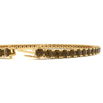 9 Inch 5 Carat Chocolate Bar Brown Champagne Diamond Tennis Bracelet In 14K Yellow Gold