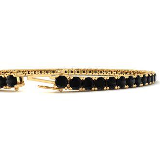 4 Carat Black Diamond Tennis Bracelet In 14 Karat Yellow Gold, 7 Inches