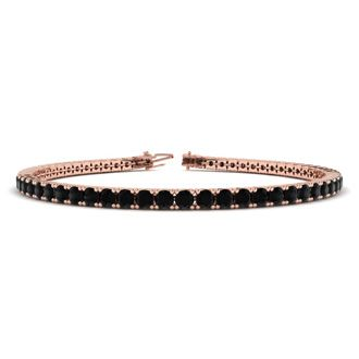 6 Inch 3 1/2 Carat Black Diamond Tennis Bracelet In 14K Rose Gold