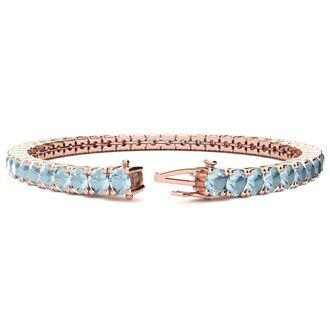 8.5 Inch 9 Carat Aquamarine Tennis Bracelet In 14K Rose Gold