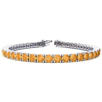 6.5 Inch 8 1/2 Carat Citrine Tennis Bracelet In 14K White Gold