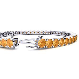 8 Inch 10 1/2 Carat Citrine Tennis Bracelet In 14K White Gold