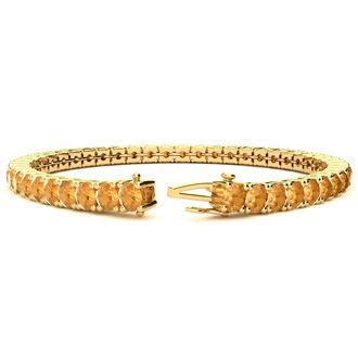 8 Inch 10 1/2 Carat Citrine Tennis Bracelet In 14K Yellow Gold