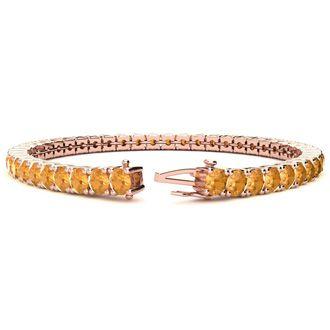 7 Inch 9 1/5 Carat Citrine Tennis Bracelet In 14K Rose Gold