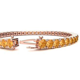 9 1/5 Carat Citrine Tennis Bracelet In 14 Karat Rose Gold, 7 Inches