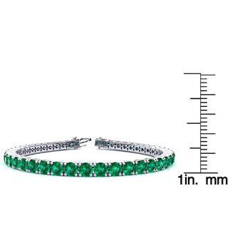 9 Inch 14 3/4 Carat Emerald Tennis Bracelet In 14K White Gold