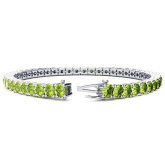 6 Inch 7 3/4 Carat Peridot Tennis Bracelet In 14K White Gold