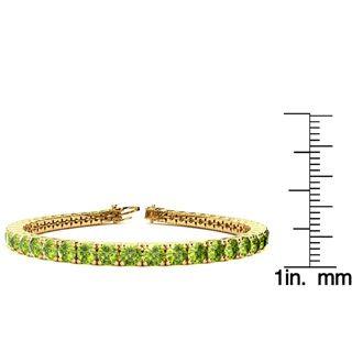 8 Inch 10 1/2 Carat Peridot Tennis Bracelet In 14K Yellow Gold