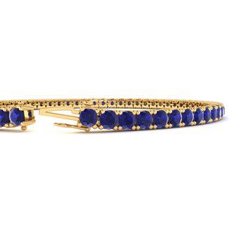 5 1/4 Carat Sapphire Tennis Bracelet In 14 Karat Yellow Gold, 7 Inches
