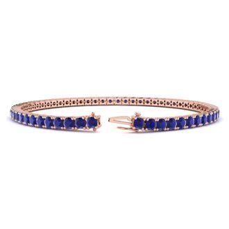 9 Inch 6 3/4 Carat Sapphire Tennis Bracelet In 14K Rose Gold