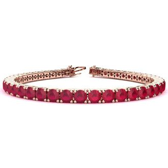 9 Inch 16 Carat Ruby Tennis Bracelet In 14K Rose Gold