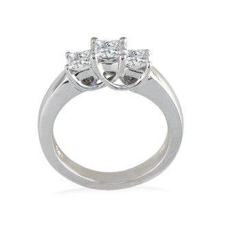 1ct Princess Three Diamond Ring in 14k White Gold, I/J, I1