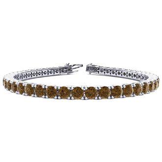 6.5 Inch 8 1/2 Carat Chocolate Bar Brown Champagne Diamond Tennis Bracelet In 14K White Gold